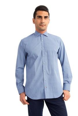 Erkek Giyim - Lacivert XXL Beden Uzun Kol Slim Fit Desenli Gömlek