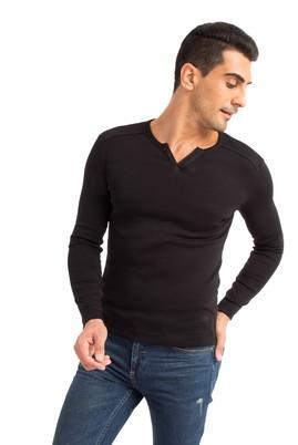 Erkek Giyim - Siyah S Beden V Yaka Slim Fit Sweatshirt