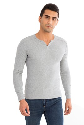 Erkek Giyim - Orta füme S Beden V Yaka Slim Fit Sweatshirt