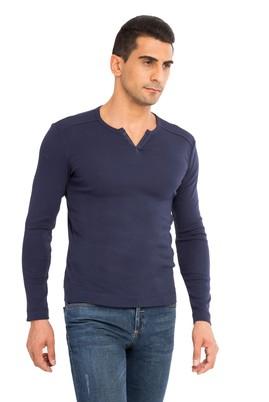 Erkek Giyim - Lacivert M Beden V Yaka Slim Fit Sweatshirt