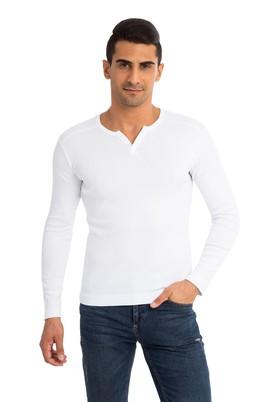 Erkek Giyim - Beyaz XXL Beden V Yaka Slim Fit Sweatshirt
