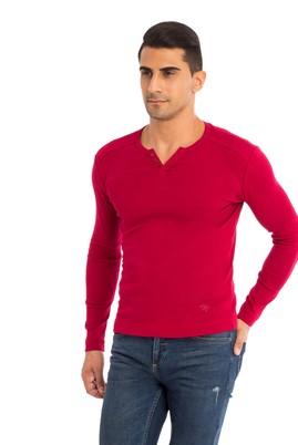 Erkek Giyim - Kırmızı XL Beden V Yaka Slim Fit Sweatshirt
