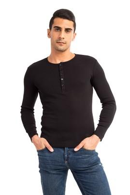 Erkek Giyim - Siyah M Beden Bisiklet Yaka Slim Fit Sweatshirt