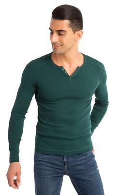 Erkek Giyim - KOYU YESİL M Beden V Yaka Slim Fit Sweatshirt