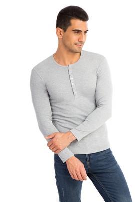Erkek Giyim - Orta füme M Beden Bisiklet Yaka Slim Fit Sweatshirt