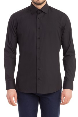 Erkek Giyim - Siyah M Beden Uzun Kol Slim Fit Gömlek