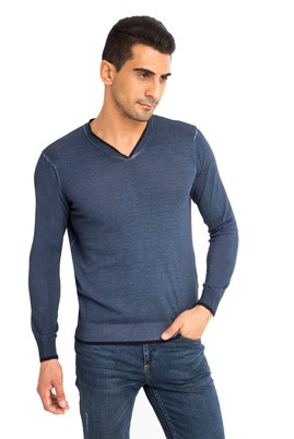 Erkek Giyim - Lacivert L Beden V Yaka Regular Fit Triko Kazak