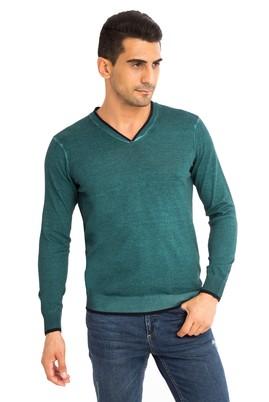 Erkek Giyim - Açık Yeşil XXL Beden V Yaka Regular Fit Triko Kazak