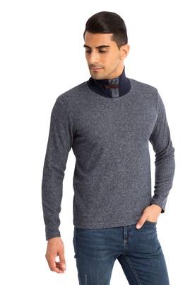 Erkek Giyim - Lacivert XXL Beden Bato Yaka Slim Fit Sweatshirt