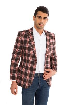 Erkek Giyim - KİREMİT 50 Beden Slim Fit Yünlü Ekose Ceket