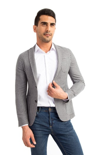 Erkek Giyim - Slim Fit Kareli Ceket
