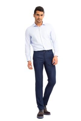 Erkek Giyim - KOYU MAVİ 46 Beden Klasik Desenli Pantolon