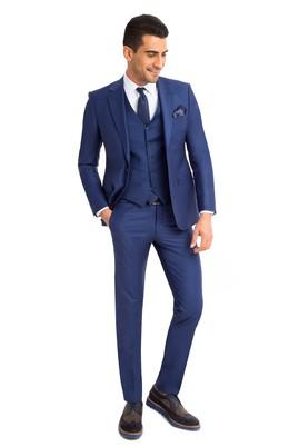Erkek Giyim - Mavi 48 Beden Yelekli Takım Elbise