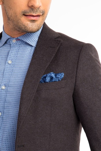 Erkek Giyim - Slim Fit Yünlü Blazer Ceket