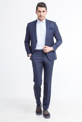 Erkek Giyim - Lacivert 44 Beden Slim Fit Kareli Takım Elbise