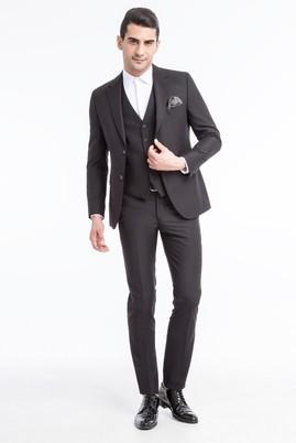 Erkek Giyim - Siyah 54 Beden Yelekli Takım Elbise