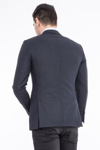 Erkek Giyim - Slim Fit Yünlü Kuşgözü Ceket