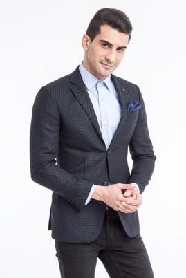 Erkek Giyim - Siyah 46 Beden Slim Fit Kuşgözü Ceket