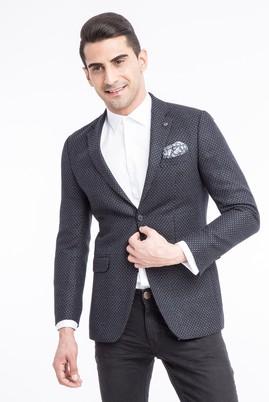 Erkek Giyim - Lacivert 50 Beden Slim Fit Kuşgözü Ceket