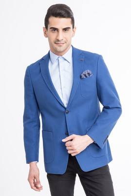 Erkek Giyim - Mavi 54 Beden Dokuma Spor Ceket
