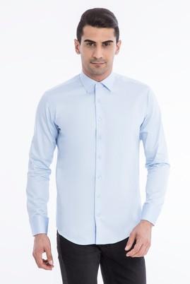 Erkek Giyim - Açık Mavi S Beden Uzun Kol Slim Fit Manşetli Saten Gömlek