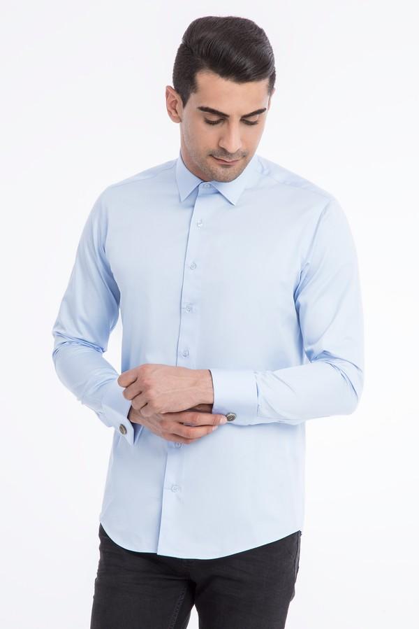 Uzun Kol Manşetli Slim Fit Saten Gömlek