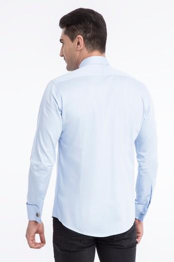 Erkek Giyim - Uzun Kol Manşetli Slim Fit Saten Gömlek
