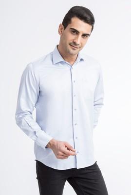 Erkek Giyim - Beyaz XL Beden Uzun Kol Kareli Gömlek