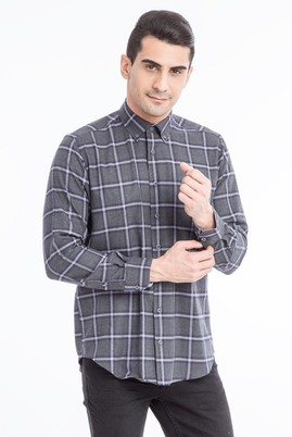 Erkek Giyim - Antrasit 3X Beden Uzun Kol Oduncu Gömlek