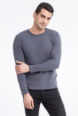 Erkek Giyim - Antrasit L Beden Bisiklet Yaka Slim Fit Sweatshirt