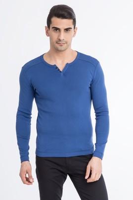Erkek Giyim - Mavi XXL Beden V Yaka Slim Fit Sweatshirt