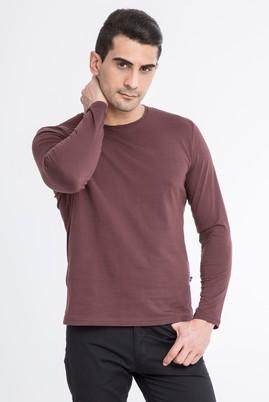 Erkek Giyim - Kahve S Beden Bisiklet Yaka Slim Fit Sweatshirt