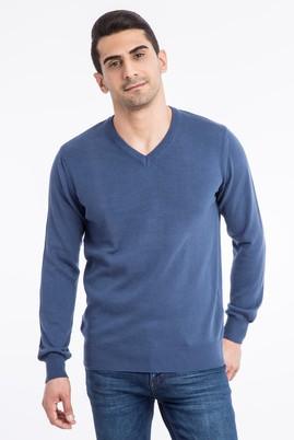 Erkek Giyim - Mavi L Beden Klasik V Yaka Triko Kazak