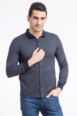 Erkek Giyim - Lacivert XL Beden Polo Yaka Slim Fit Düğmelİ Sweatshirt