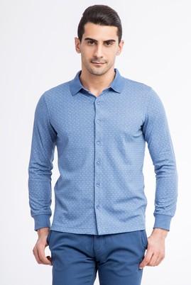 Erkek Giyim - Mavi S Beden Polo Yaka Slim Fit Sweatshirt