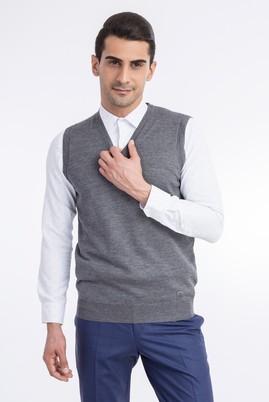 Erkek Giyim - Orta füme 3X Beden V Yaka Yünlü Süveter