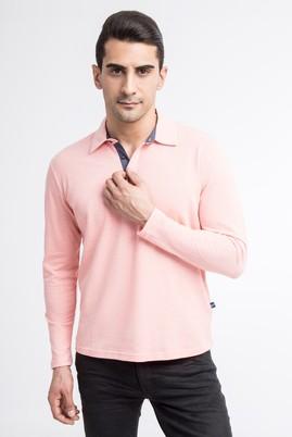 Erkek Giyim - Kırmızı L Beden Polo Yaka Regular Fit Sweatshirt