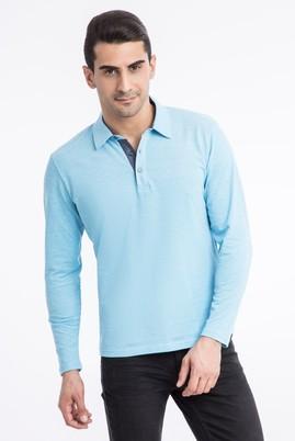 Erkek Giyim - Turkuaz L Beden Polo Yaka Regular Fit Sweatshirt