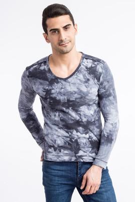 Erkek Giyim - Antrasit M Beden V Yaka Desenli Sweatshirt