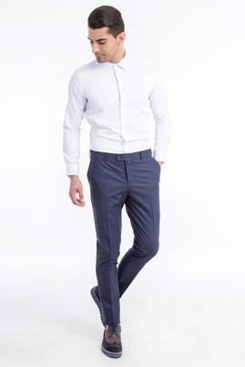 Erkek Giyim - Lacivert 50 Beden Süper Slim Fit Ekose Pantolon