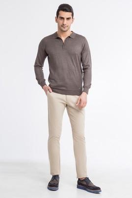 Erkek Giyim - Bej 58 Beden Saten Pantolon