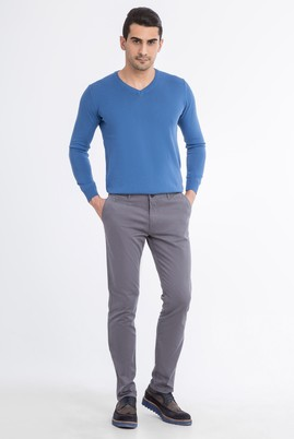 Erkek Giyim - Orta füme 52 Beden Slim Fit Saten Pantolon