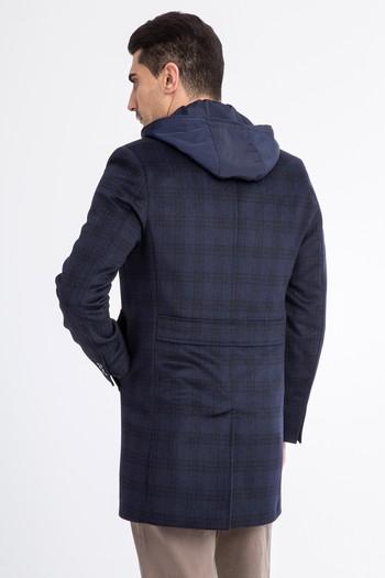 Erkek Giyim - Kapüşonlu Ekose Kaşe Yün Kaban