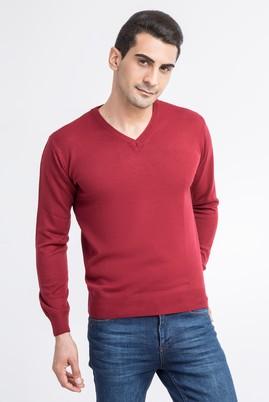 Erkek Giyim - Bordo L Beden V Yaka Soft Triko Kazak
