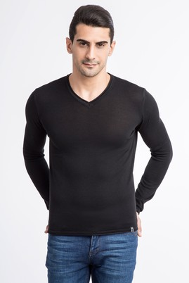 Erkek Giyim - Siyah XXL Beden V Yaka Slim Fit Triko Kazak