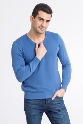 Erkek Giyim - Mavi XXL Beden V Yaka Regular Fit Triko Kazak