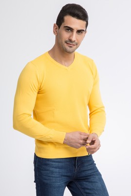 Erkek Giyim - Sarı 3X Beden V Yaka Regular Fit Triko Kazak