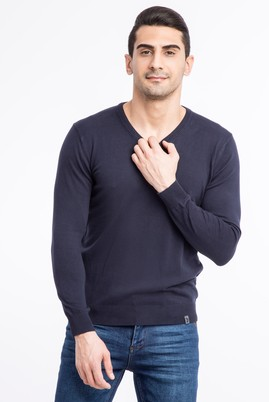 Erkek Giyim - Lacivert XXL Beden V Yaka Regular Fit Triko Kazak