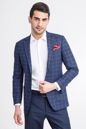 Erkek Giyim - Slim Fit Yünlü Kareli Ceket