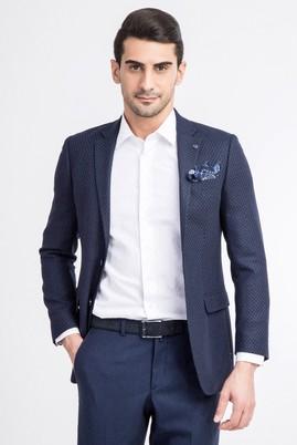 Erkek Giyim - Mavi 46 Beden Slim Fit Yünlü Kuşgözü Ceket